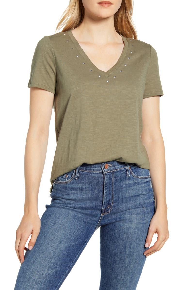 VINCE CAMUTO Studded V-Neck Cotton Blend T-Shirt, Main, color, LIGHT SAGE