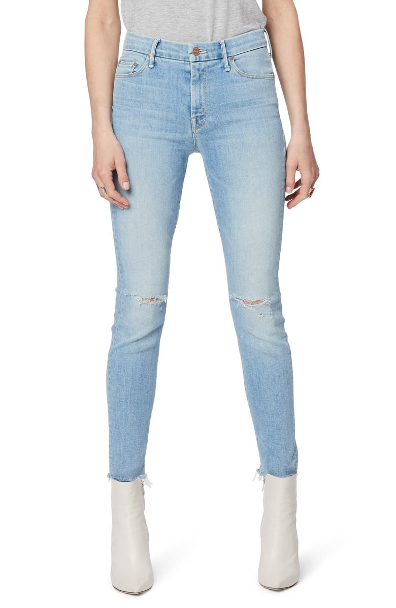 MOTHER The Looker High Waist Ripped Fray Hem Ankle Skinny Jeans, Main, color, ACROSS THE MAP