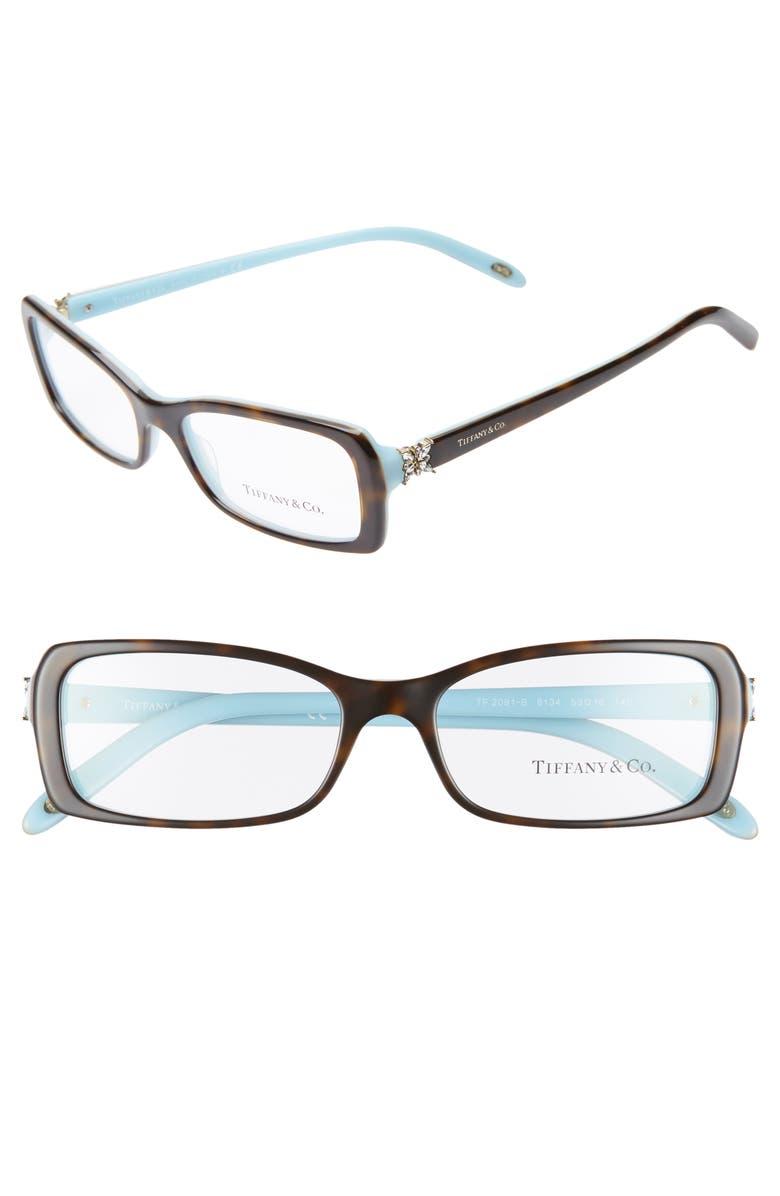 TIFFANY & CO. 53mm Optical Glasses, Main, color, TOP HAVANA/ BLUE