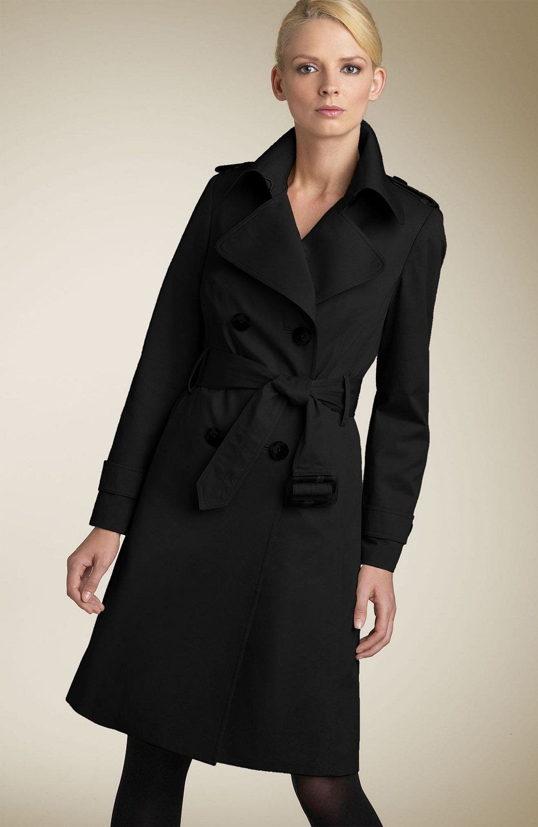 Belted Trench Coat with Zip Out Liner, Main, color, BLK