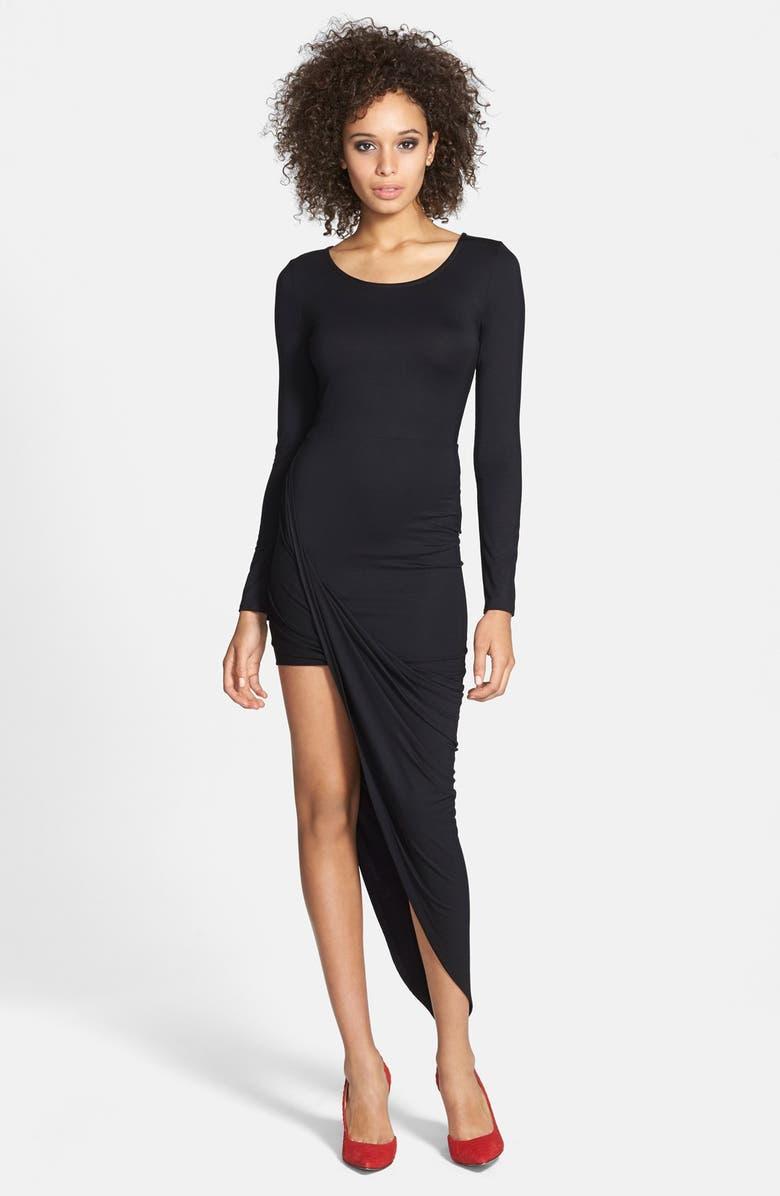ASTR THE LABEL ASTR Twist Wrap Asymmetrical Body-Con Dress, Main, color, 001
