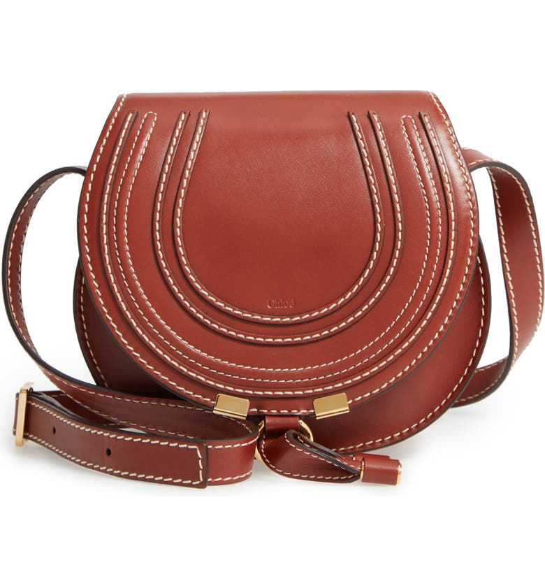 CHLOÉ Small Marcie Leather Crossbody Bag, Main, color, BROWN/ BROWN