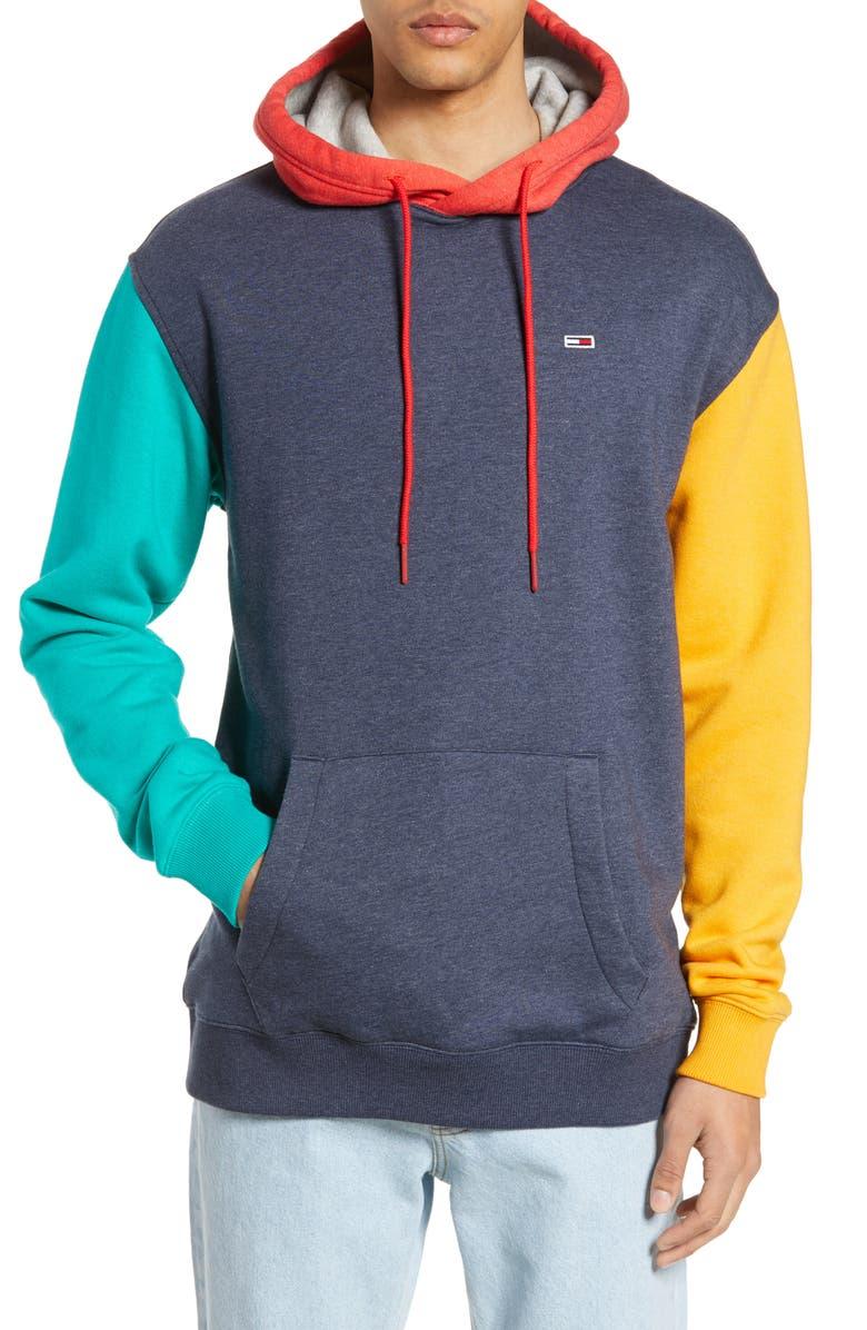 TOMMY JEANS TJM Colorblock Hoodie, Main, color, 400