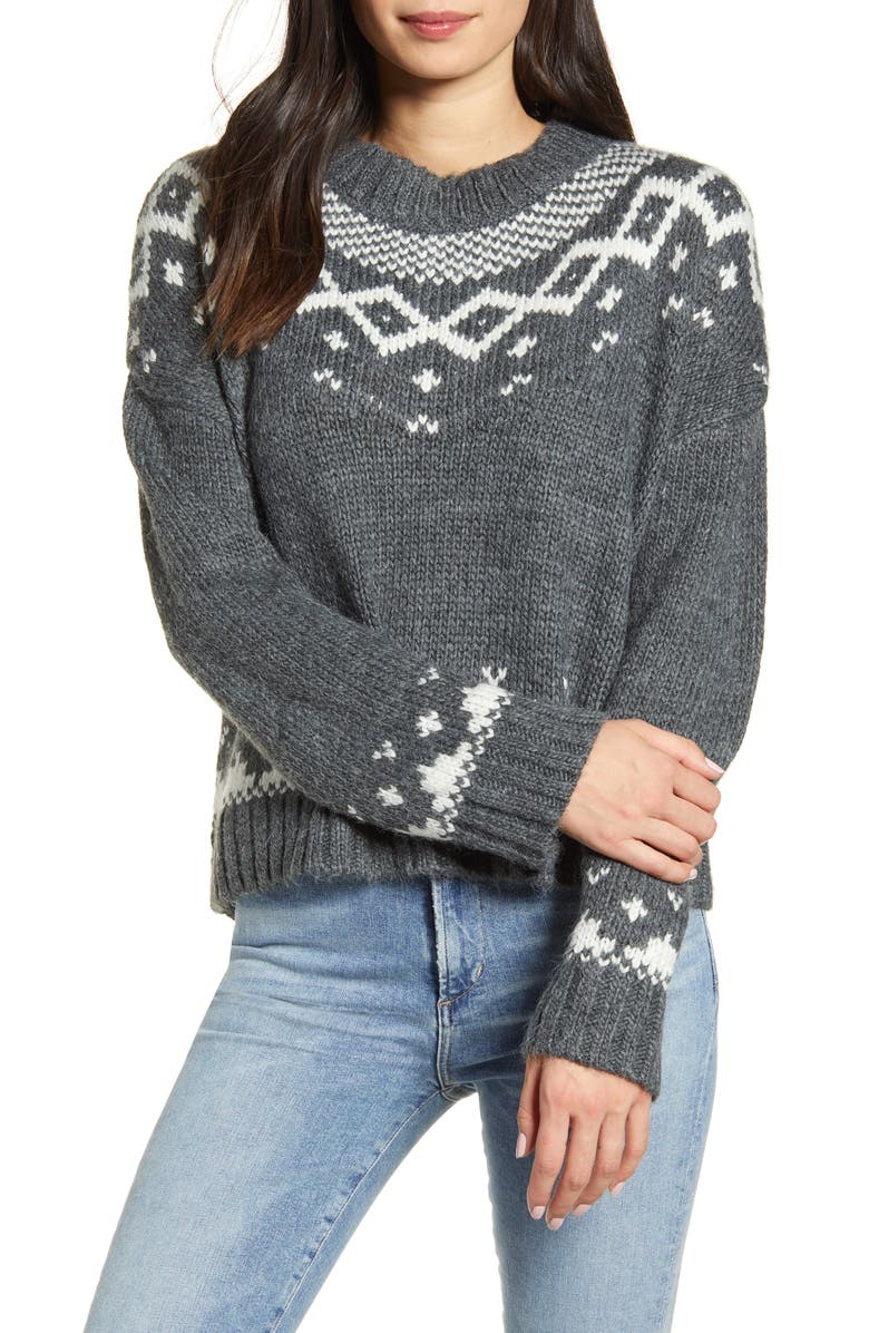 CUPCAKES AND CASHMERE Jasmine Fair Isle Pullover, Main, color, MED HEATHER GREY