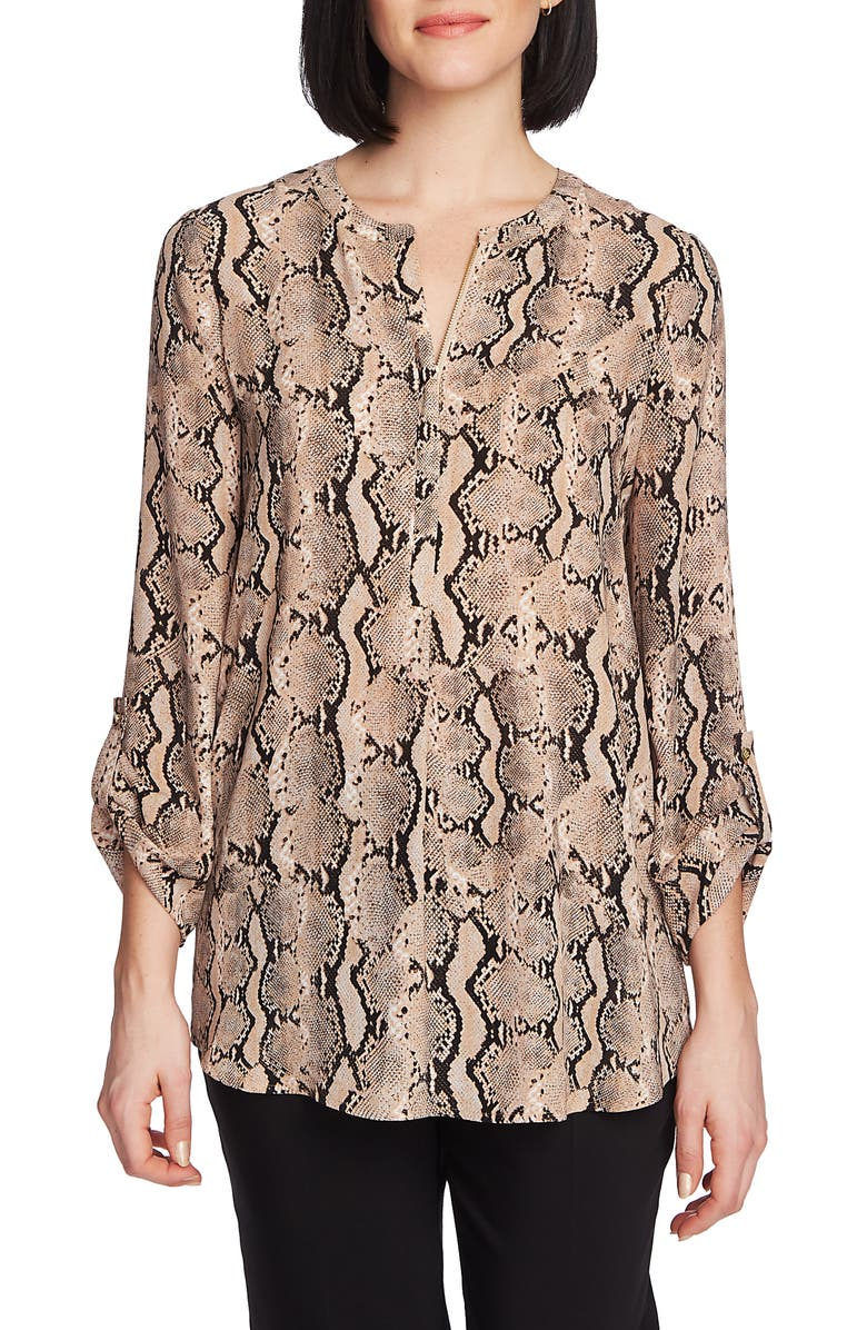 CHAUS Zip Front Georgette Top, Main, color, LIGHT FRENCH TRUF