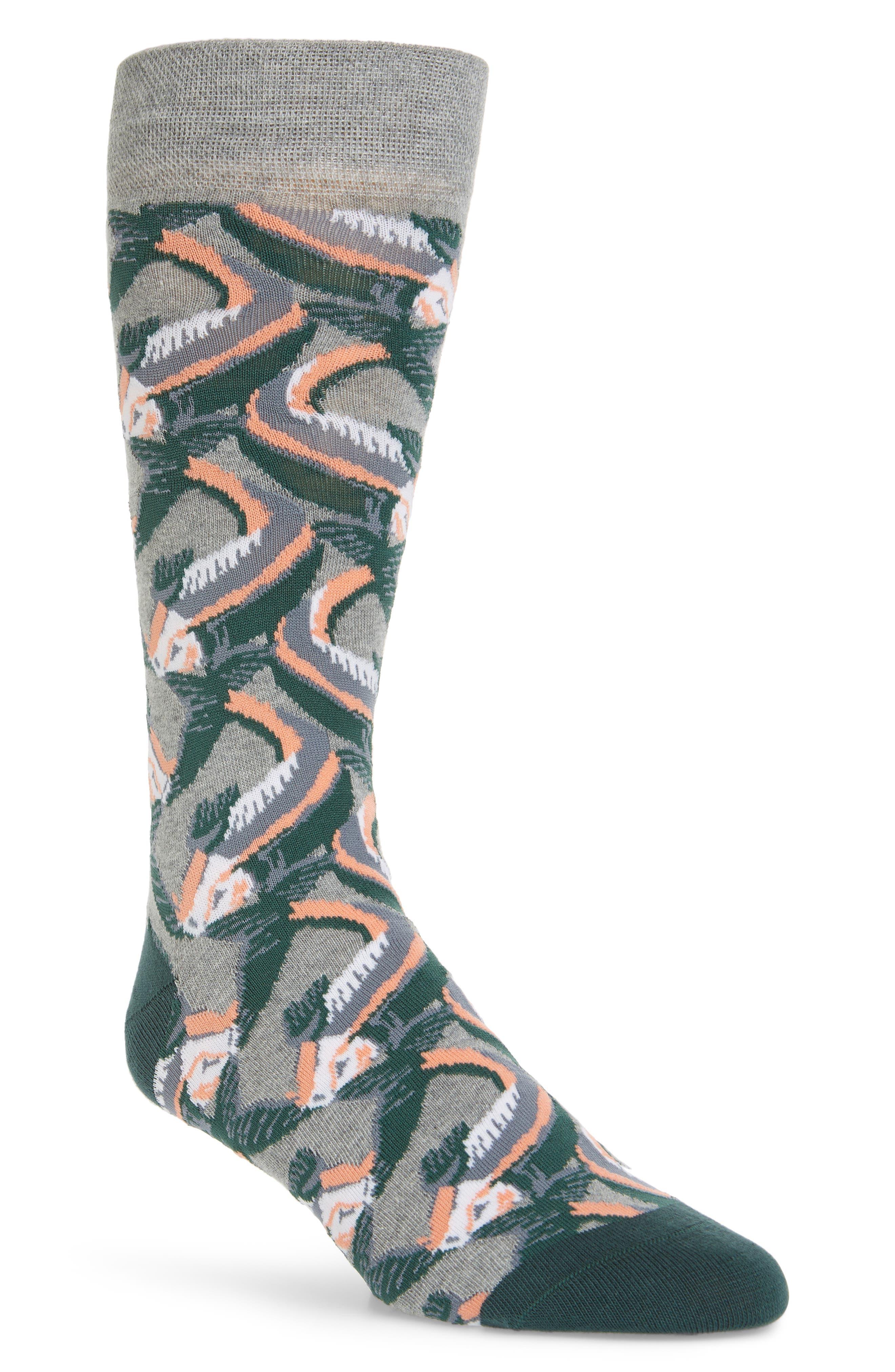 Betony Fish Socks, Main, color, GREY