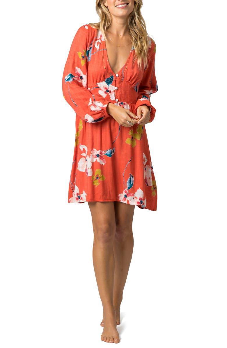 RIP CURL Beach Bella Long Sleeve Floral Minidress, Main, color, 950