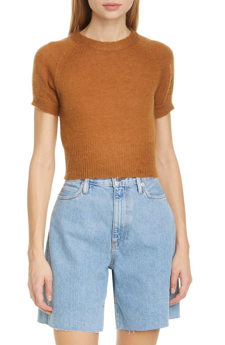 SIMON MILLER Flinder Short Sleeve Crop Sweater, Main, color, SEA HORSE