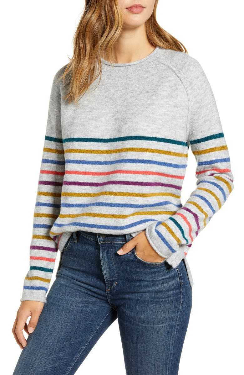 CASLON<SUP>®</SUP> Cozy Crewneck Sweater, Main, color, GREY HEATHER MULTI MARL STRIPE