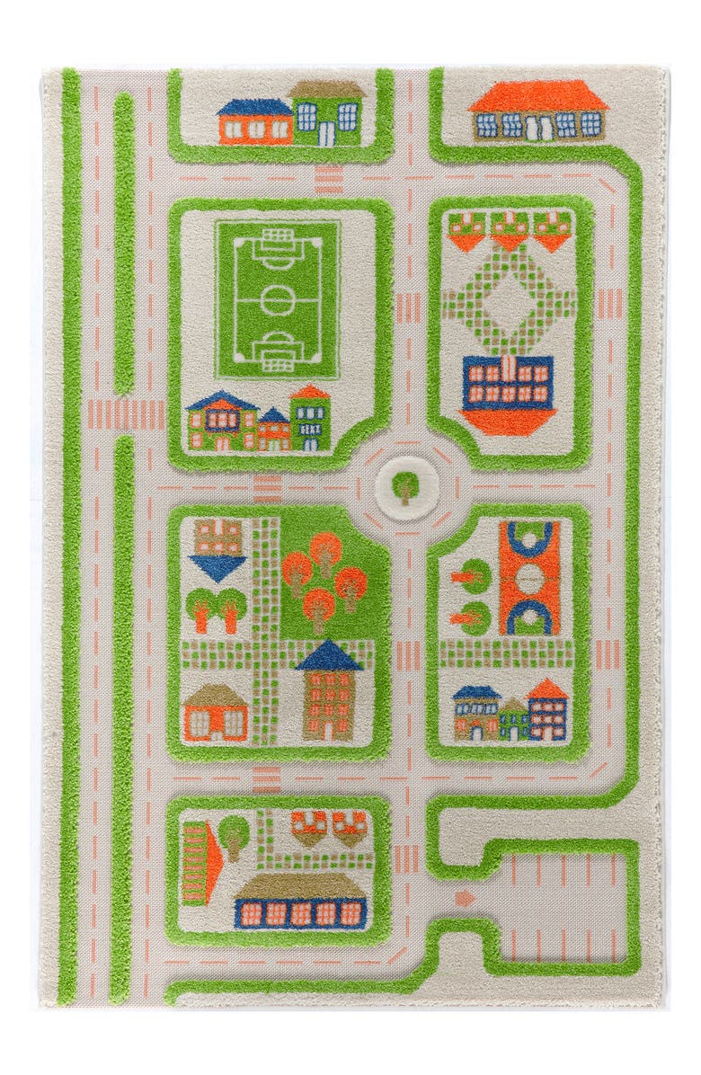 LUCA AND CO IVI Traffic Play Rug, Main, color, GREEN