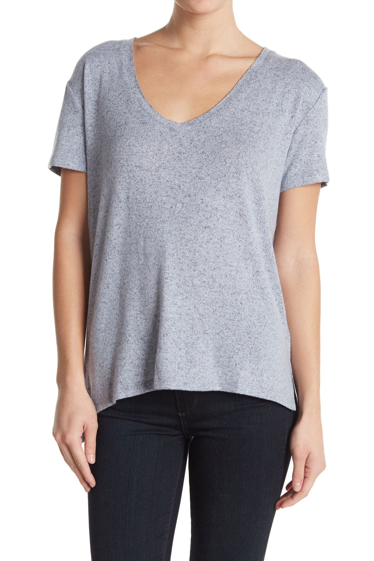 Image of Caslon Brushed Knit V-Neck T-Shirt