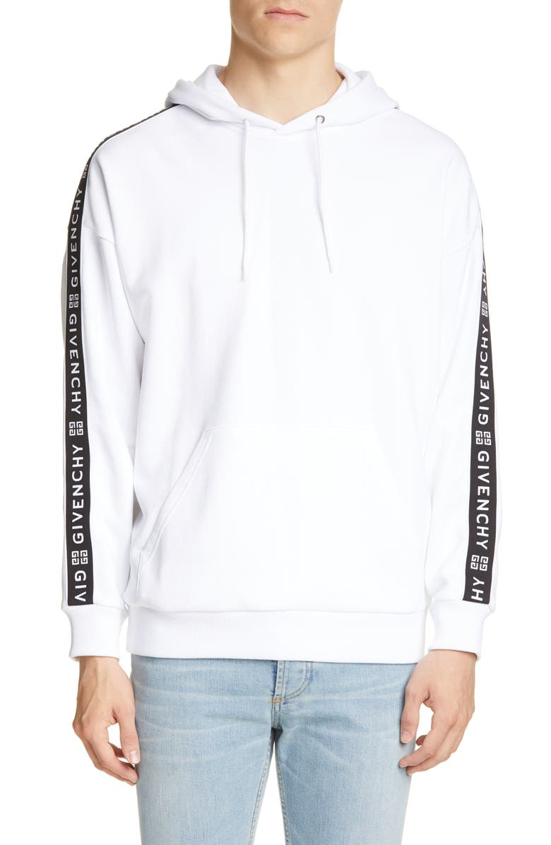 GIVENCHY Regular Fit Logo Hooded Sweatshirt, Main, color, WHITE