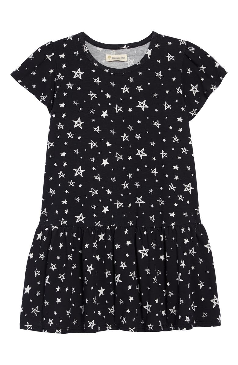 TUCKER + TATE Print Jersey Dress, Main, color, BLACK SKETCHED STAR