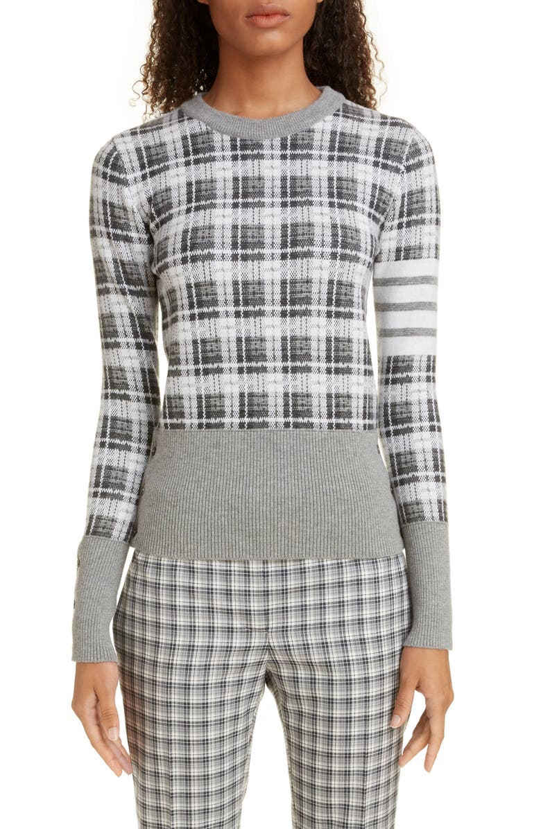 THOM BROWNE Checked Jacquard Cashmere & Wool Sweater, Main, color, MEDIUM GREY