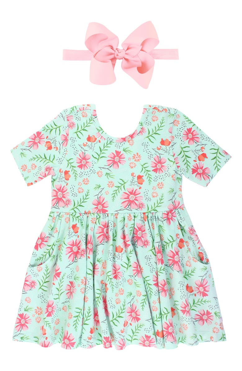 RUFFLEBUTTS Wildflower Twirl Dress & Bow Head Wrap Set, Main, color, BLUE
