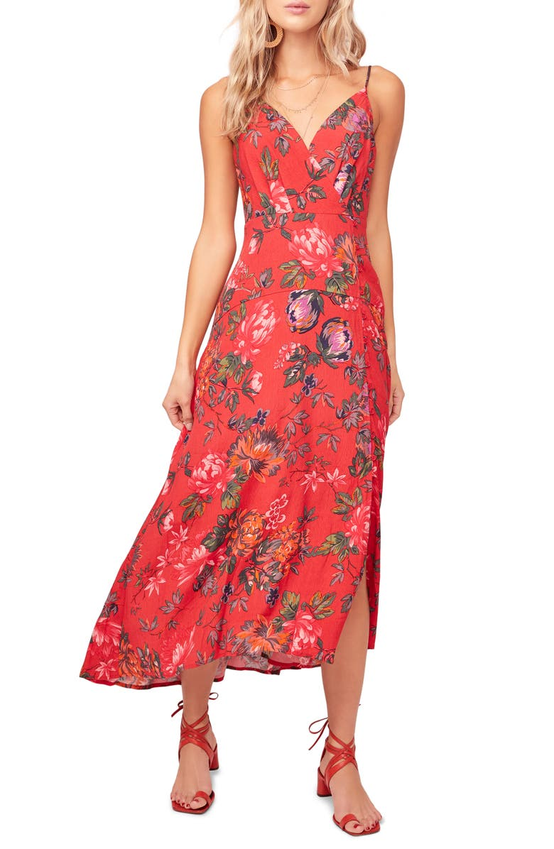ASTR THE LABEL Catya Front Button Faux Wrap Dress, Main, color, RED-OLIVE FLORAL