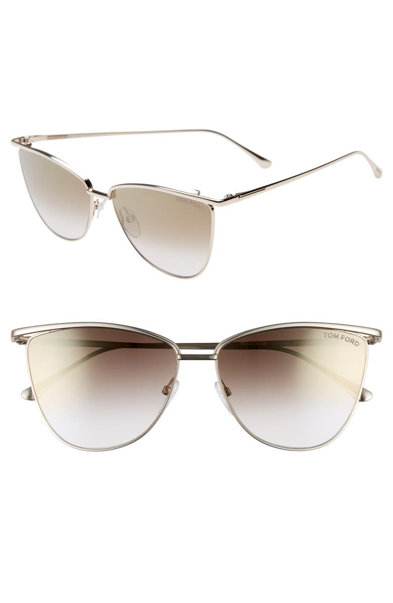 TOM FORD Veronica 58mm Gradient Mirrored Cat Eye Sunglasses, Main, color, ROSE GOLD/ BROWN MIRROR