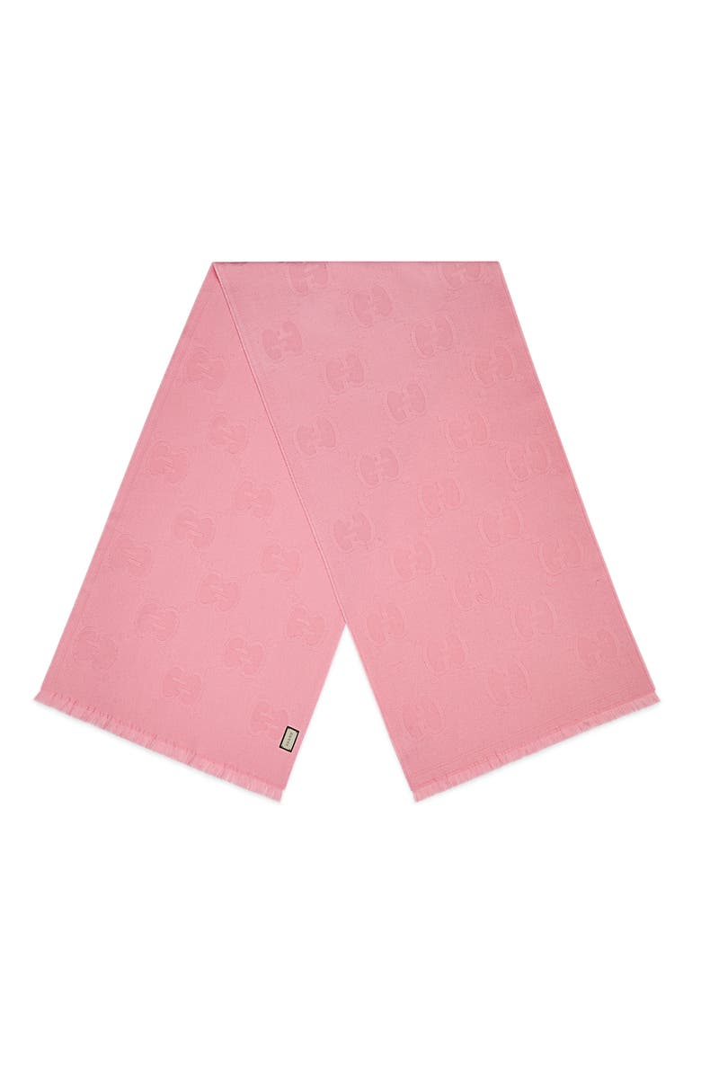 GUCCI GG Logo Wool Scarf, Main, color, ROSEATE