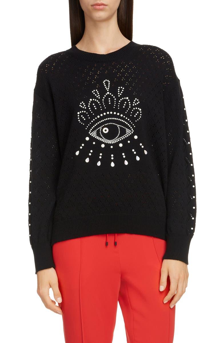 KENZO Beaded Eye Pointelle Cotton Sweater, Main, color, BLACK