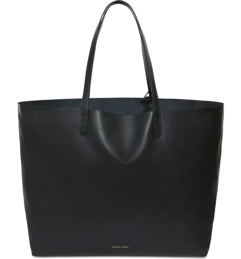 MANSUR GAVRIEL Oversize Lambskin Leather Tote, Main, color, BLACK
