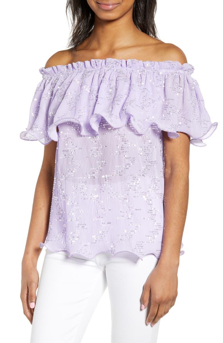 ENDLESS ROSE Off the Shoulder Sequin Top, Main, color, PURPLE