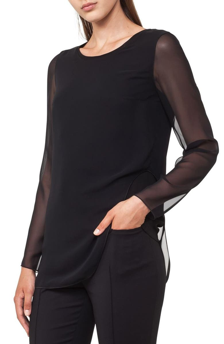 AKRIS PUNTO Sheer Layer Top, Main, color, BLACK