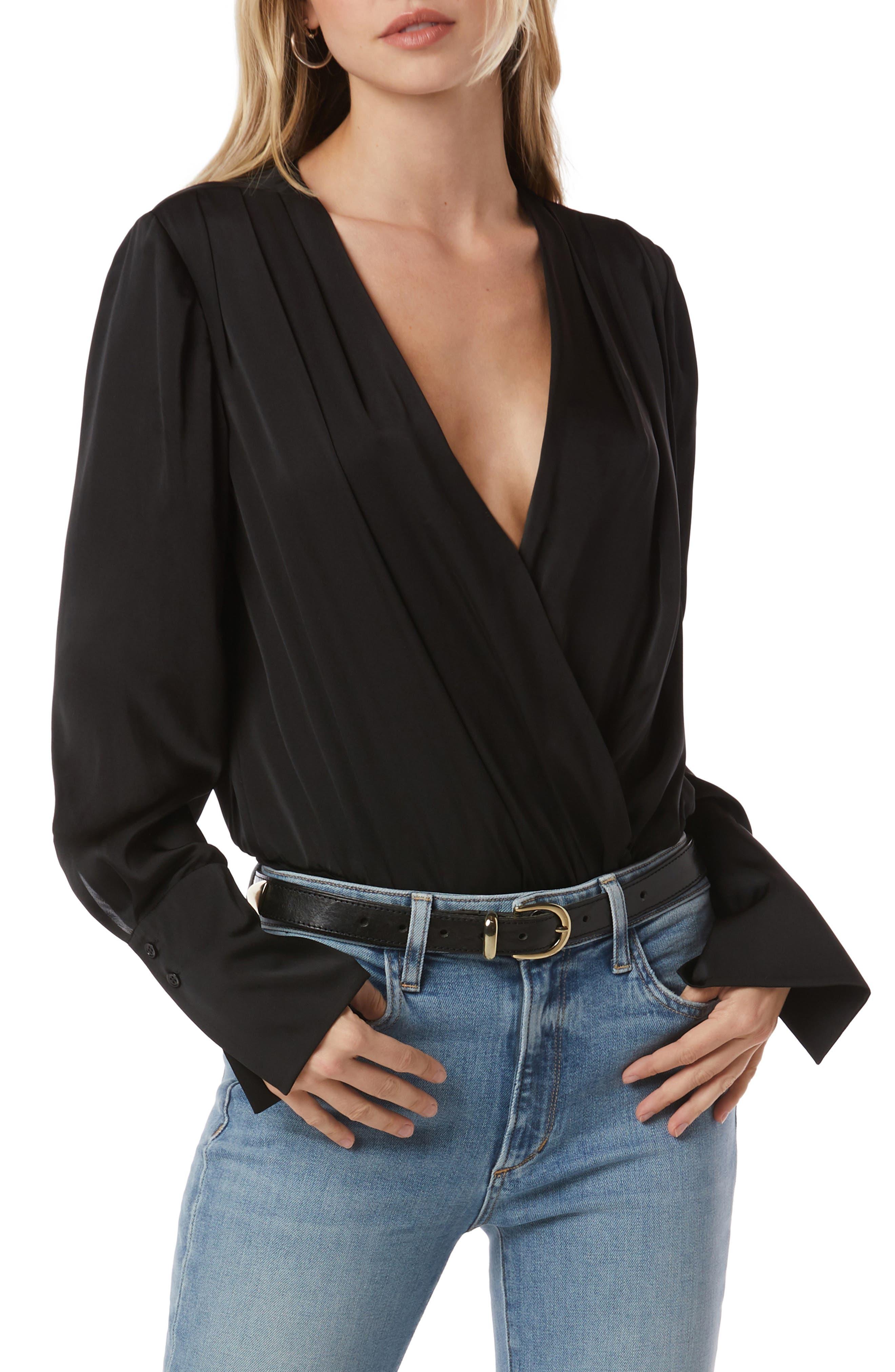 Surplice Long Sleeve Satin Bodysuit