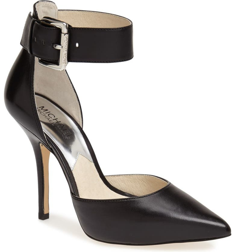 MICHAEL MICHAEL KORS 'Brinkley' Ankle Strap Pointy Toe d'Orsay Pump, Main, color, 001