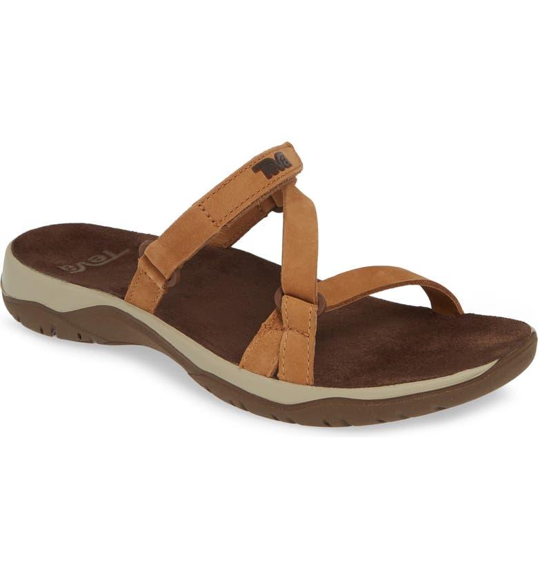 TEVA Elzada Slide Sandal, Main, color, PECAN LEATHER