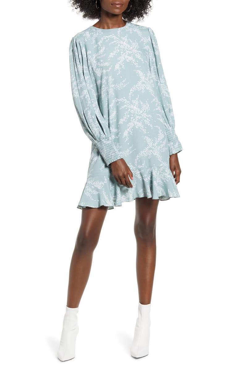 ENGLISH FACTORY Flounce Hem Long Sleeve Dress, Main, color, GREEN