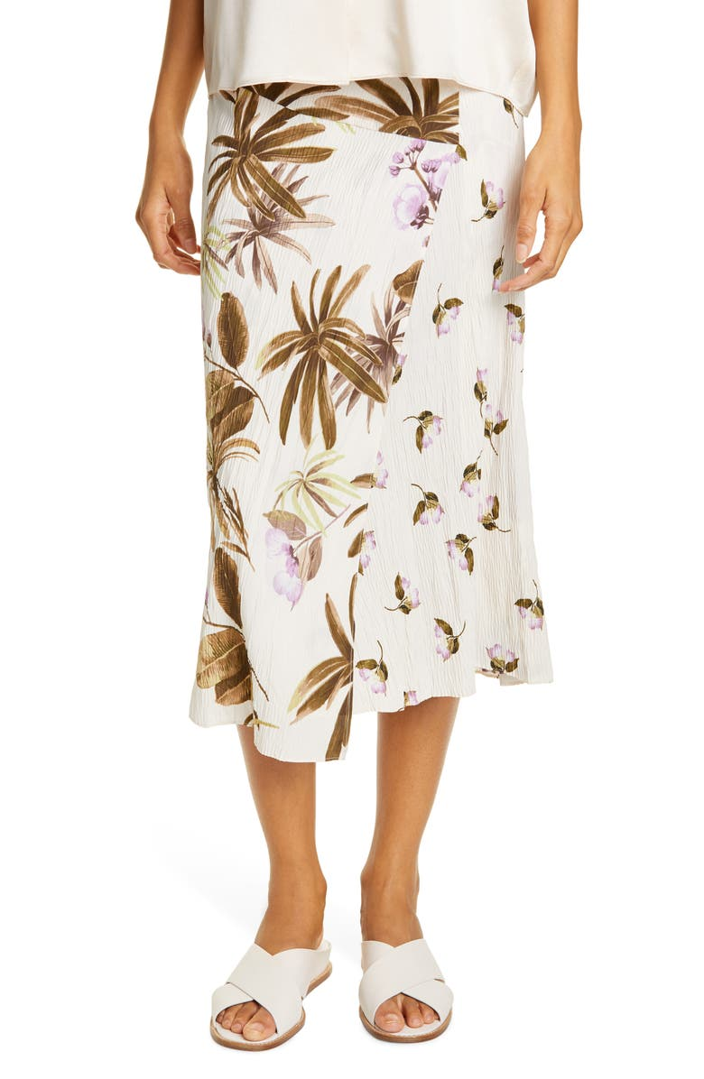 VINCE Mixed Tropical Garden Midi Skirt, Main, color, PALE ALDER
