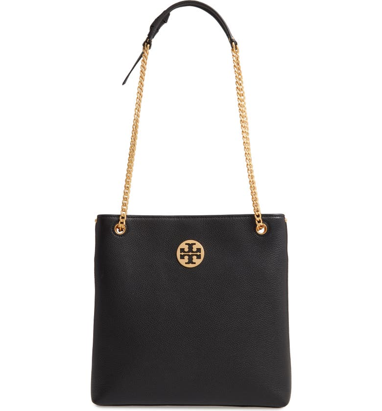 TORY BURCH Everly Leather Swingpack, Main, color, BLACK