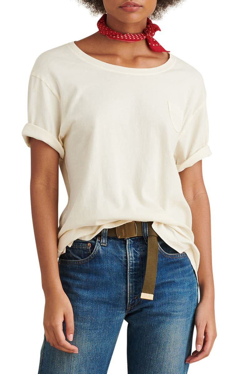 ALEX MILL Laundered Cotton Pocket Tee, Main, color, NATURAL