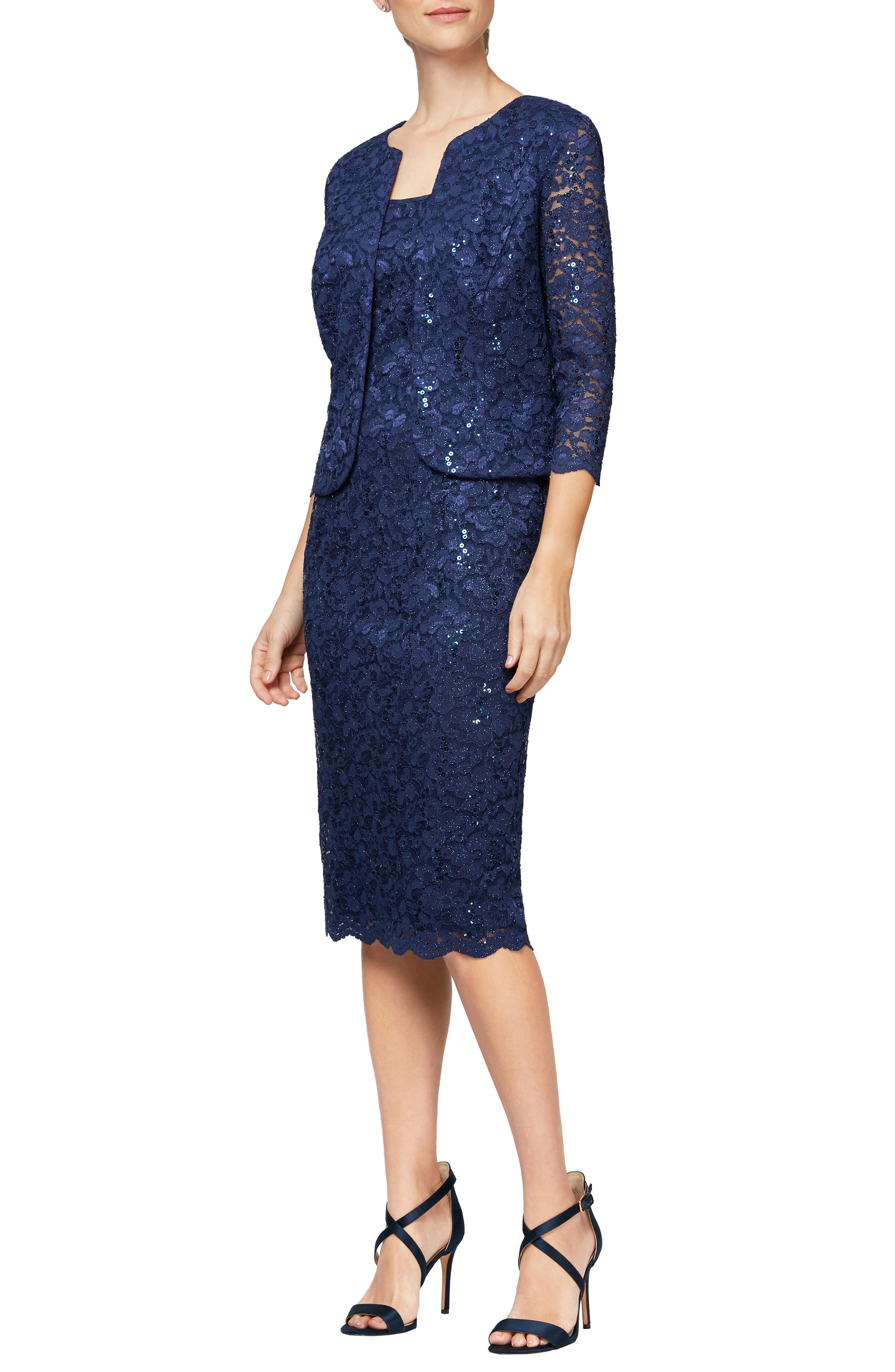 Sequin Lace Shift Dress With Jacket