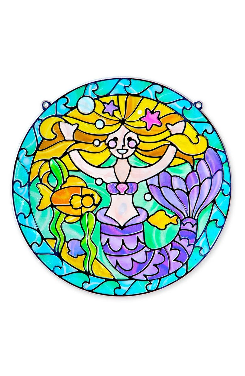MELISSA & DOUG 'Stained Glass Made Easy - Mermaid' Peel & Press Sticker Kit, Main, color, 400