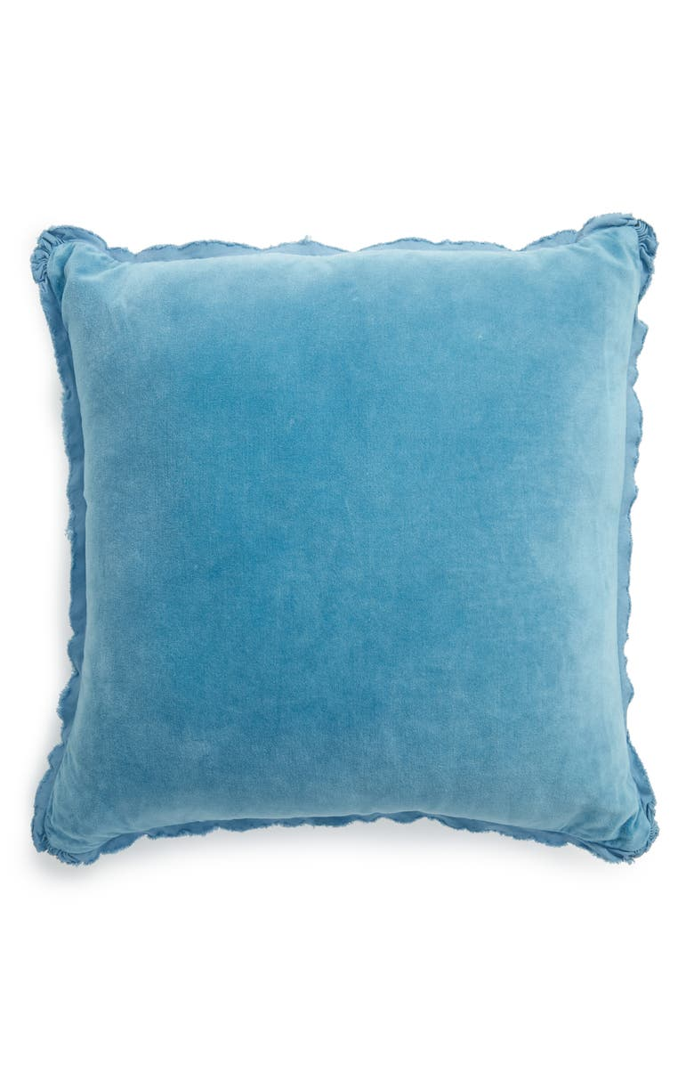TREASURE & BOND Stonewash Velvet Accent Pillow, Main, color, TEAL LARKSPUR