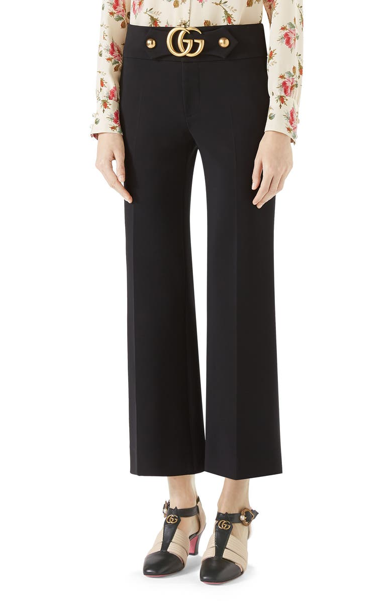 GUCCI Double G Stretch Jersey Crop Pants, Main, color, BLACK