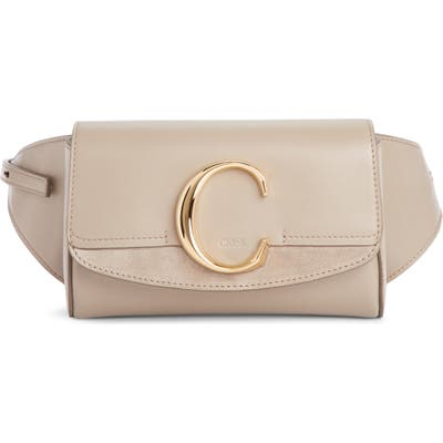 Chloe C Leather Convertible Belt Bag - Grey