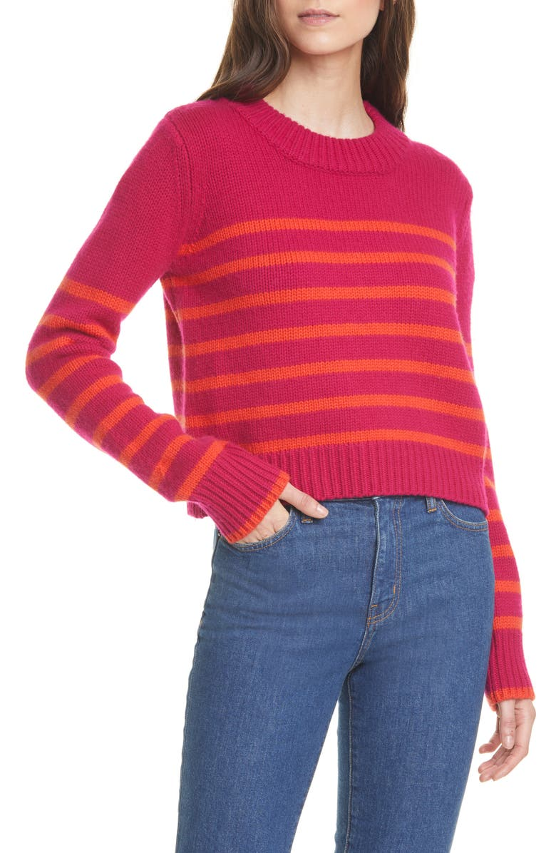 LA LIGNE Mini Maren Wool & Cashmere Sweater, Main, color, BERRYBLOOD ORANGE