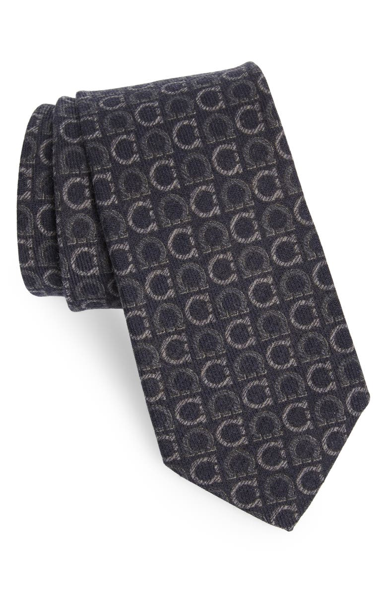 SALVATORE FERRAGAMO Ibis Gancini Print Wool & Yak Tie, Main, color, 024