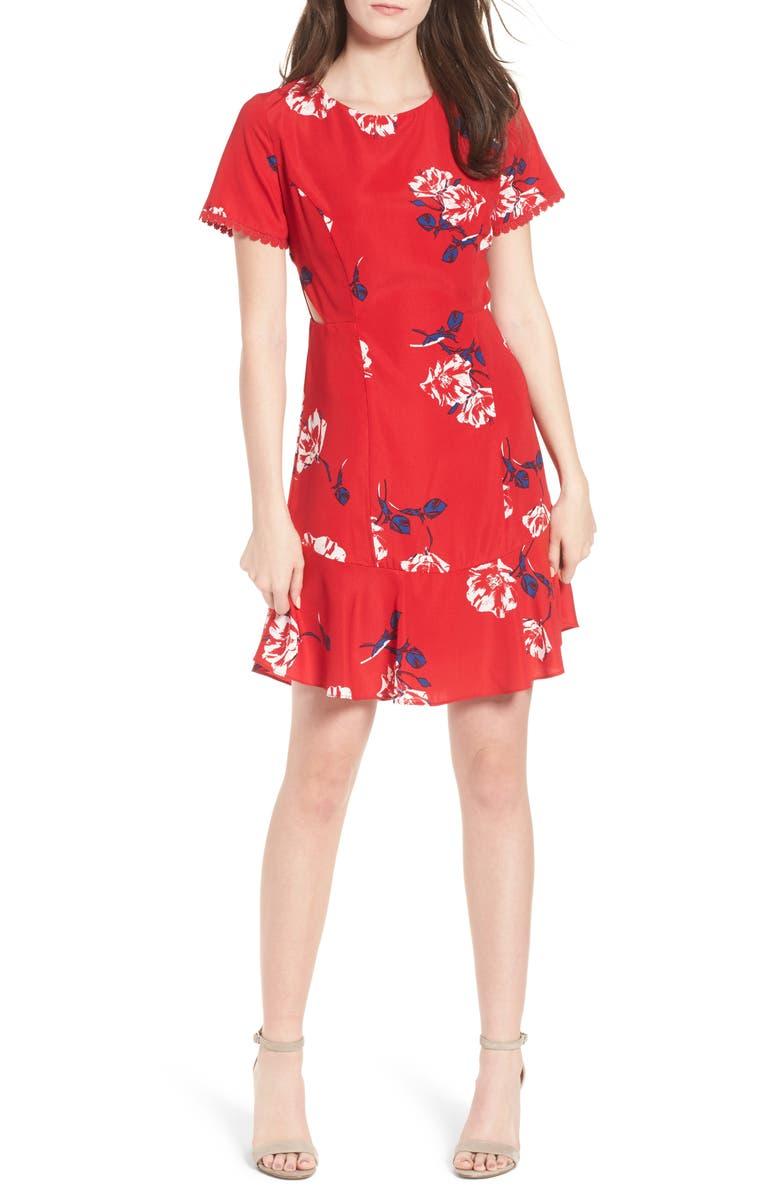 SOCIALITE Cutout Fit & Flare Dress, Main, color, 648