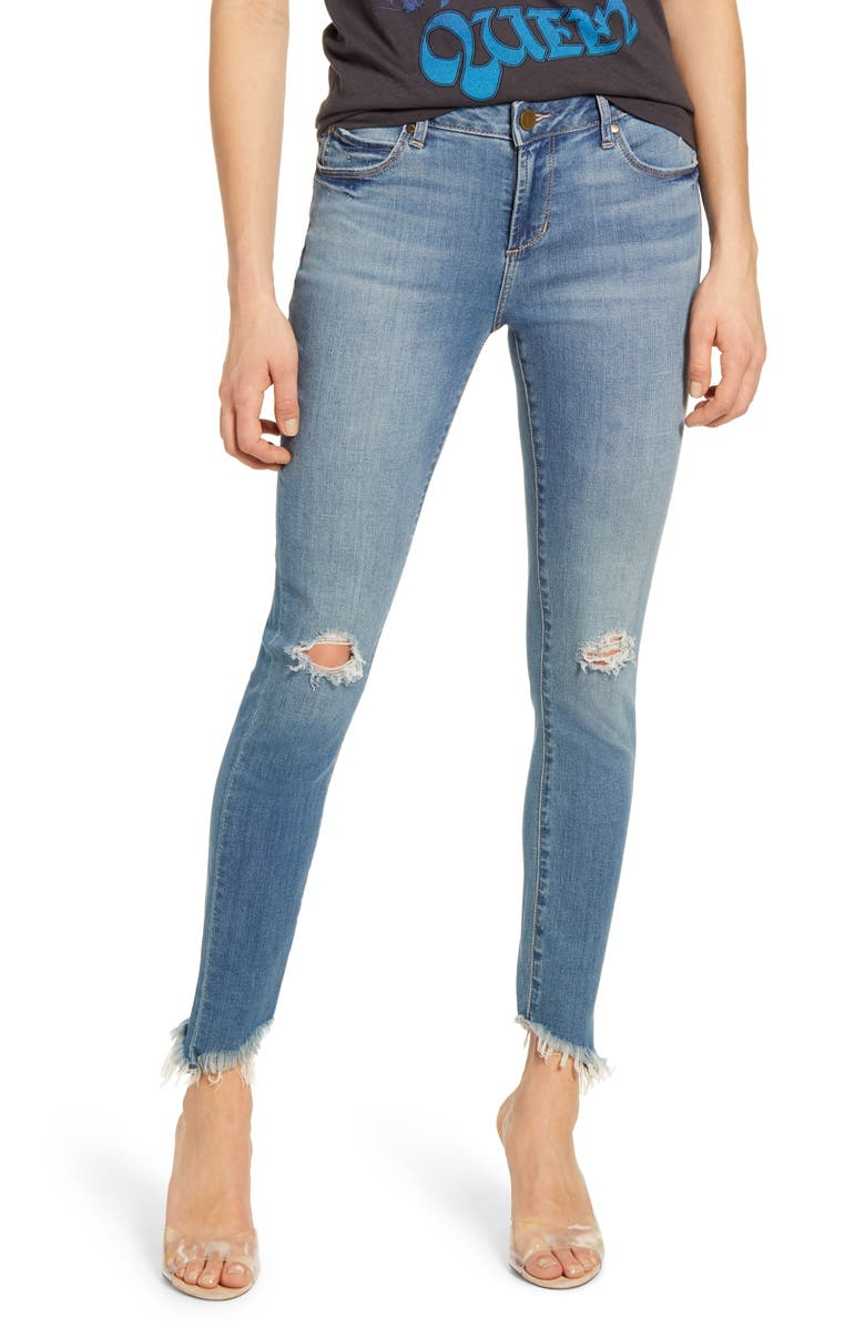 ARTICLES OF SOCIETY Suzy Ripped Fray Hem Ankle Skinny Jeans, Main, color, 450