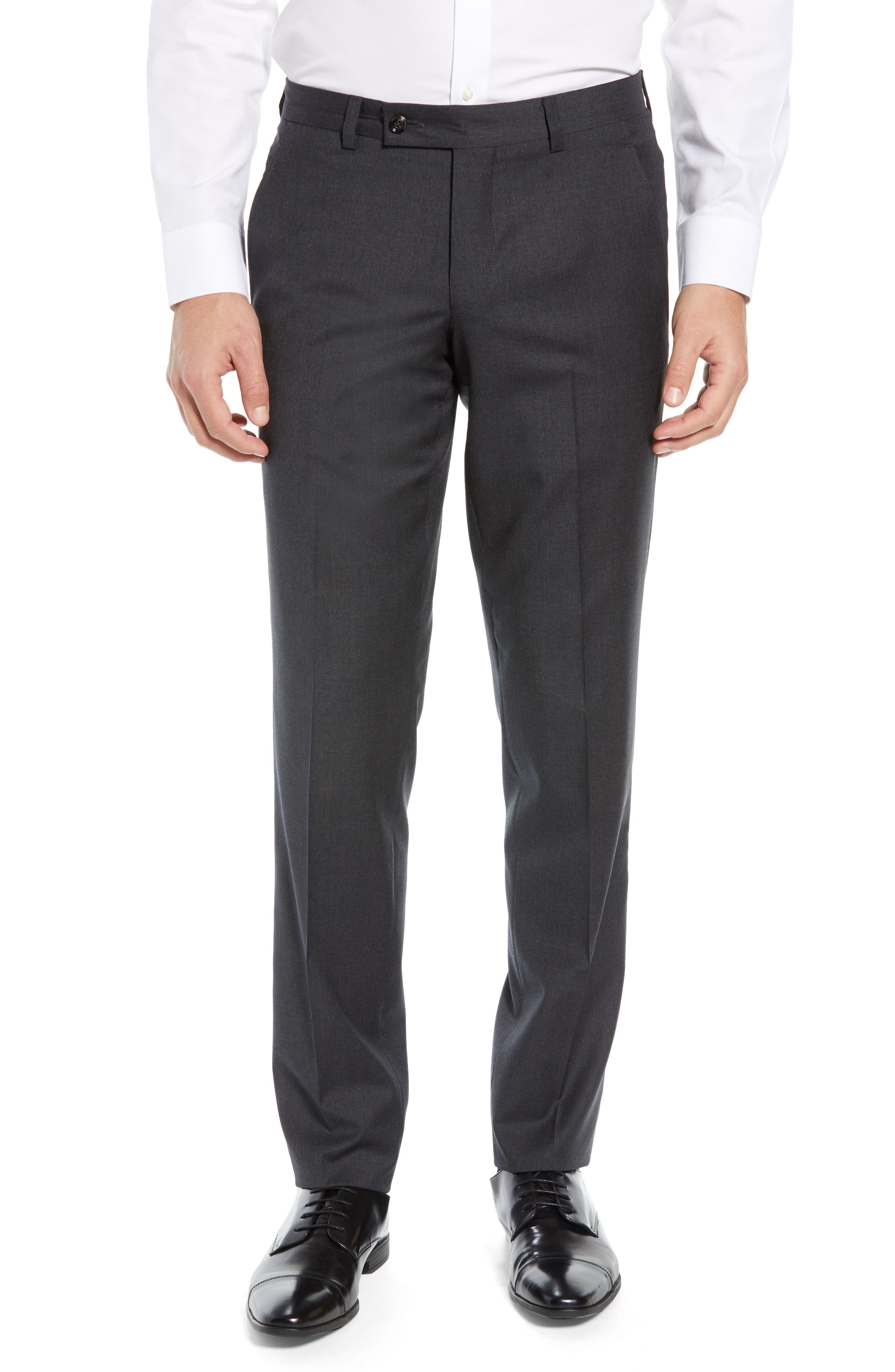 ,                             Jerome Flat Front Solid Wool Trousers,                             Main thumbnail 1, color,                             CHARCOAL