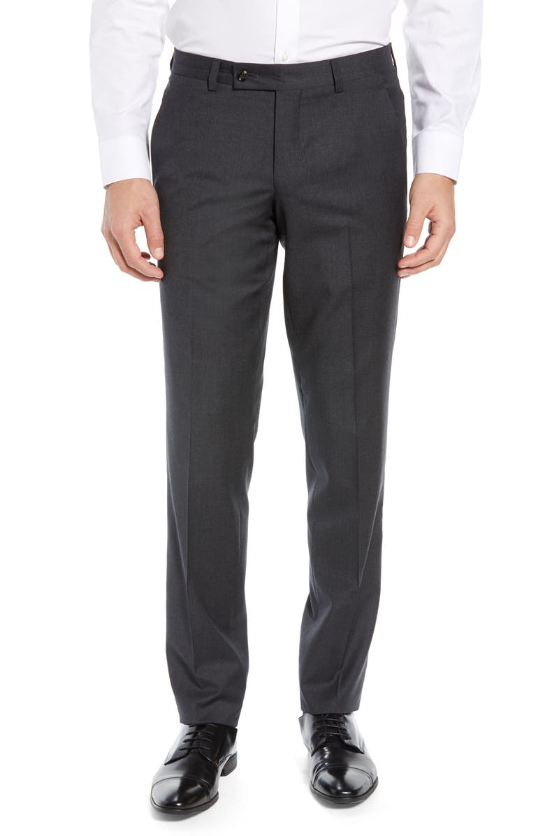 TED BAKER LONDON Jerome Flat Front Solid Wool Dress Pants, Main, color, CHARCOAL
