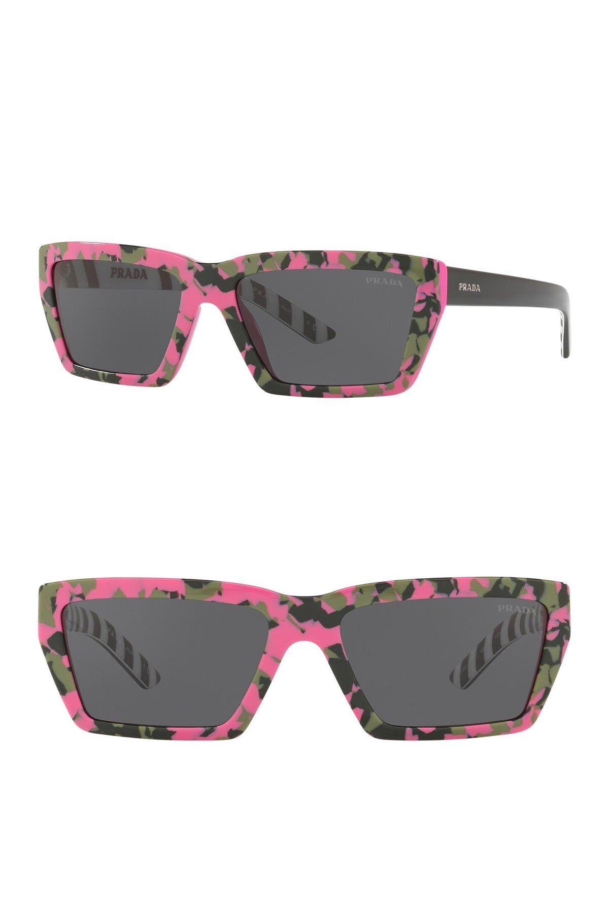 Image of Prada Camo Geo 57mm Rectangle Sunglasses