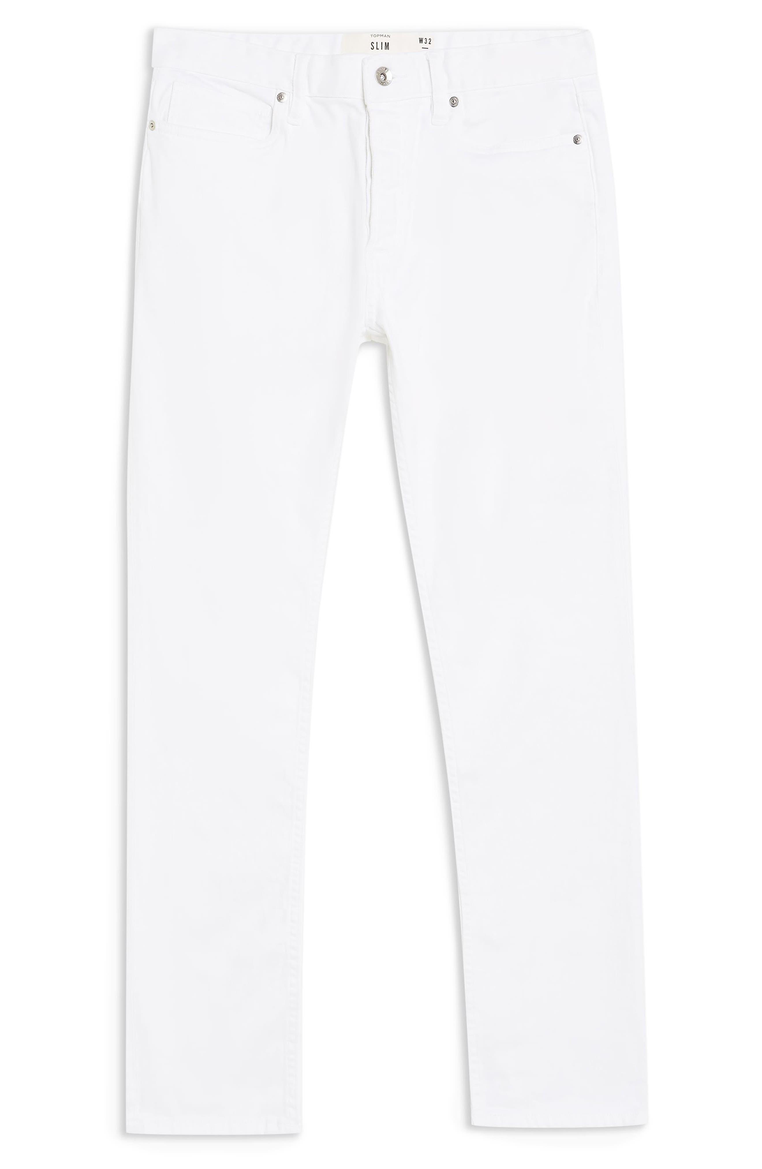 ,                             Slim Fit Stretch Denim Jeans,                             Alternate thumbnail 4, color,                             WHITE