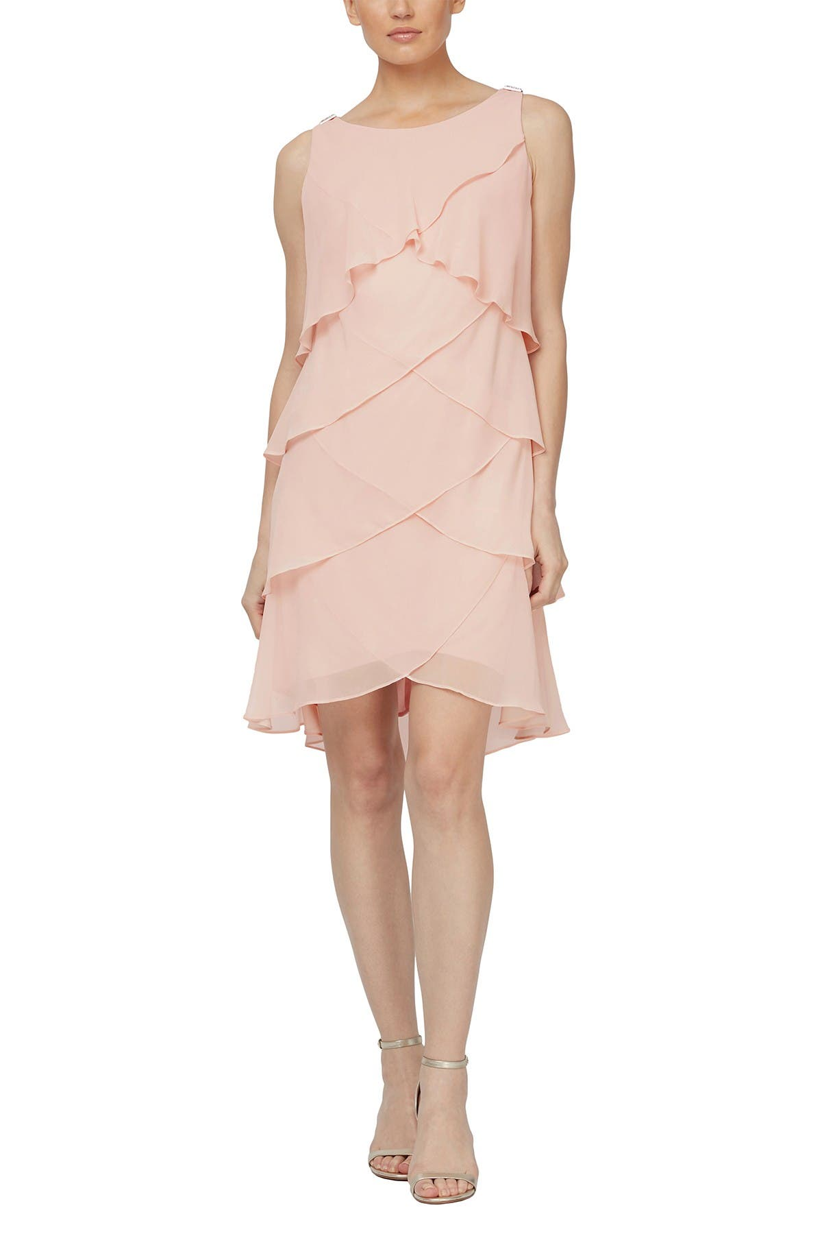 Image of SLNY Tulip Tier Chiffon Dress