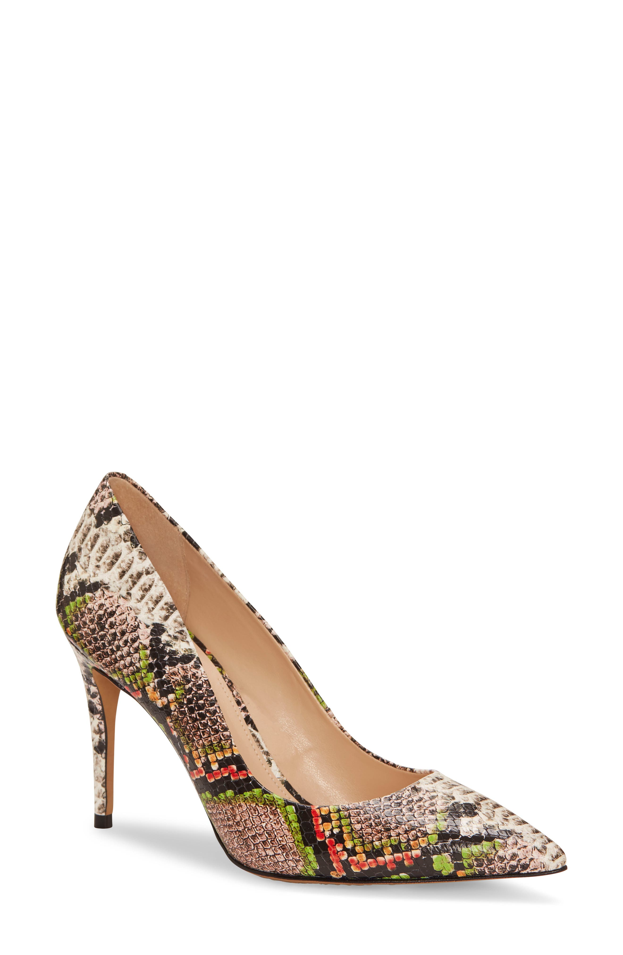 A stiletto pump puts a bold spin on the animal-print trend while keeping the silhouette classic with a smart pointy toe. Style Name: Vince Camuto Treesha Pump (Women). Style Number: 5882170. Available in stores.