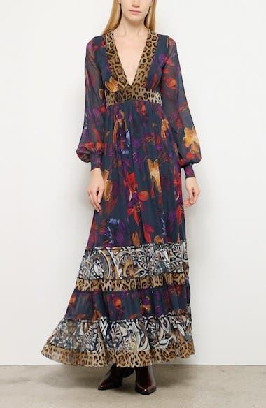 Leopard Patchwork Long Sleeve Maxi Dress, video thumbnail