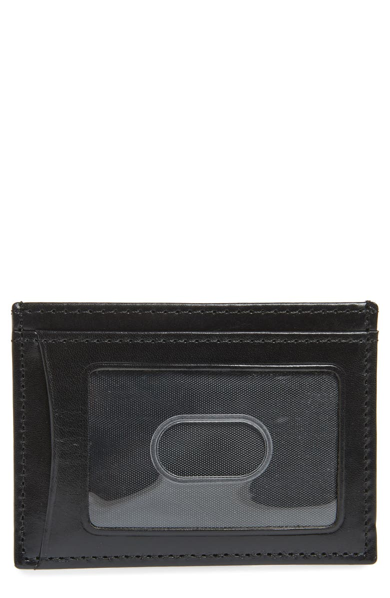 JOHNSTON & MURPHY Leather Card Case, Main, color, BLACK FULL GRAIN LEATHER